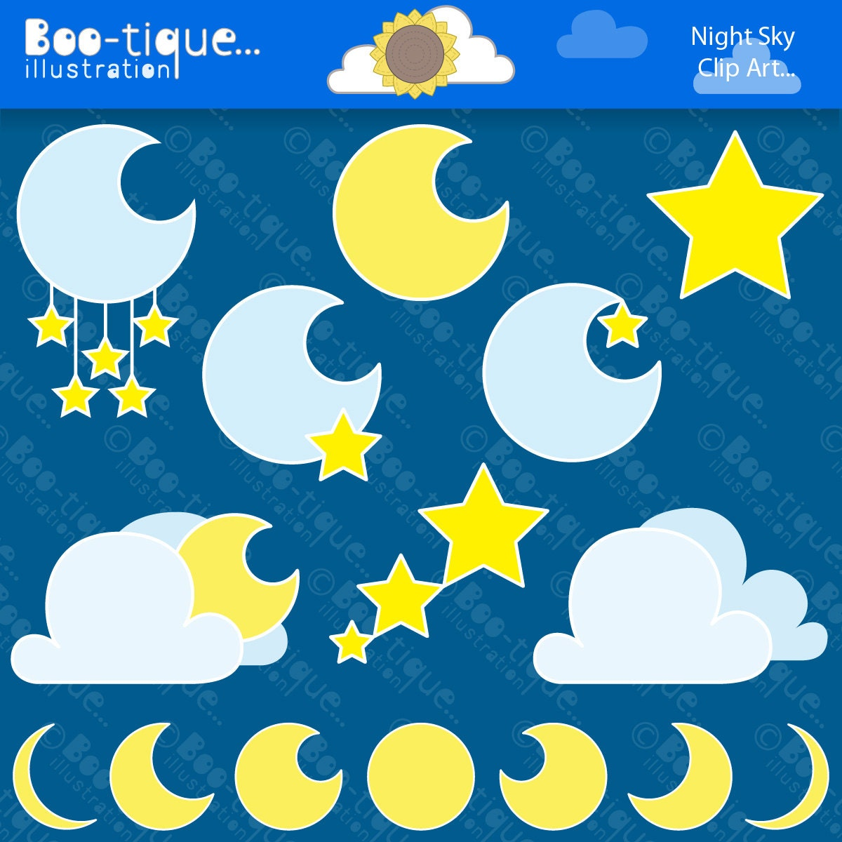 Moon and Stars Clipart Set. Night Sky Clip Art. Moons Digital