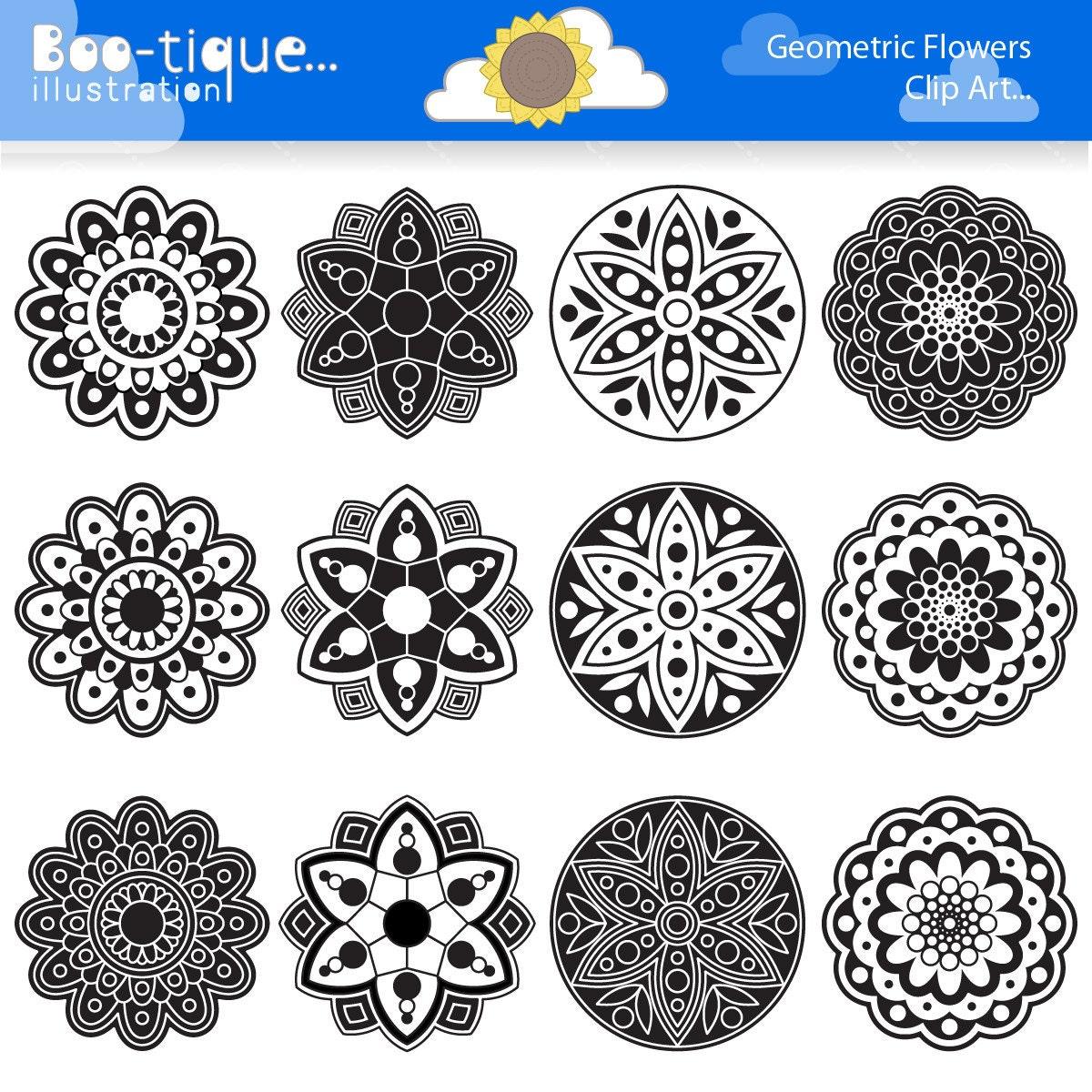 Black And White Geometric Flowers Digital Clipart Rangoli Clip Art Vectors