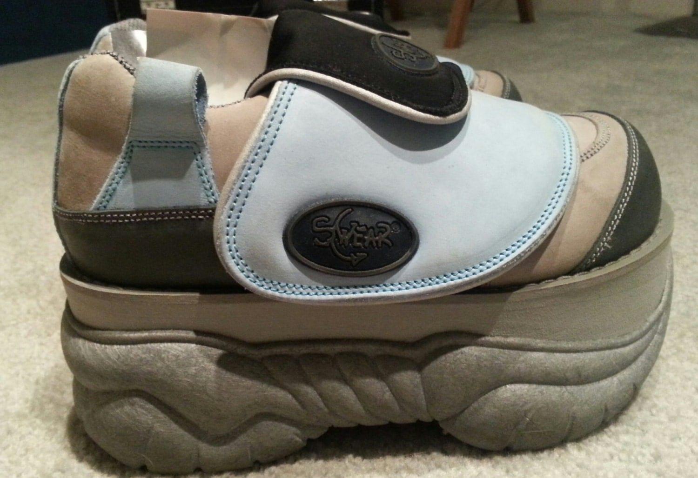 unworn swear alt grey blue silver platform shoes by