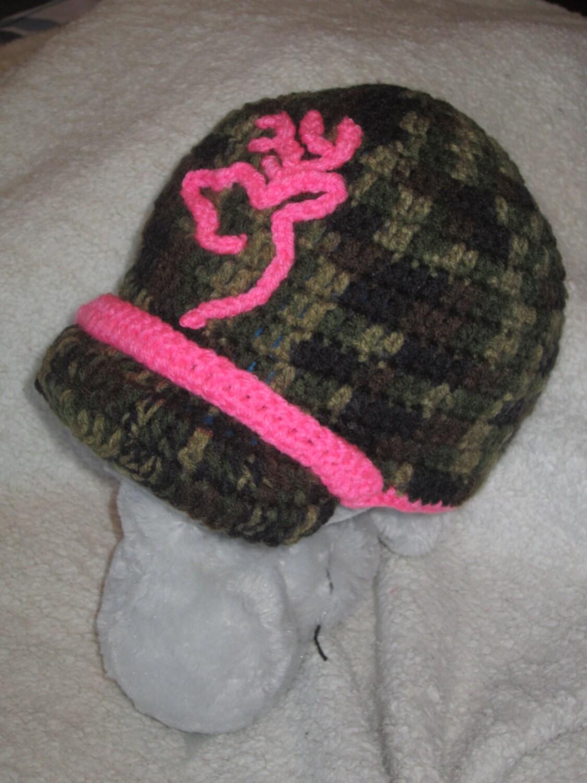 Crochet Browning Inspired Deer Hunter Pink Camo Beanie Hat