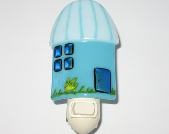 Tiki Hut Fused Glass Night Light