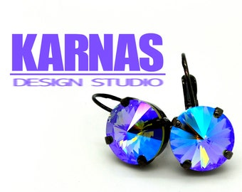 BLACK DIAMOND GLACIER 12mm Crystal Rivoli Drop Earrings Made With Swarovski Elements *Pick Your Metal *Karnas Design Studio *Free Shipping*