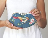 Glasses Case clutch / Bird  / Blue / Floral / Cotton Canvas / MADE TO ORDER
