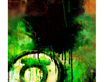 "Green Lantern Abstract Art Canvas, available in 16"" x 24"" and 20"" x 30"""
