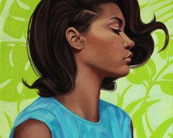 Fashion Illustration, Art Prints, Fashion, Art, Print, Vogue Prints, Original, Oil Painting, Giclee, Tropical, Woman, Aqua Blue Green, Retro