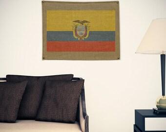 Ecuador Burlap Flag
