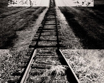 Intersecting Railroads V - Digital Collage print - choose from 5 different colour combinations