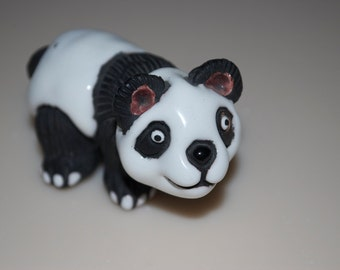 Clay & Glaze Panda Figure Figurine from Peru Peruvian Casals