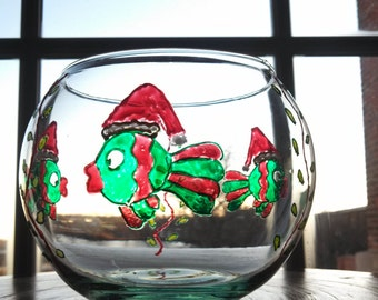 Hand painted glass fish bowl with santa fish for Painted glass fish