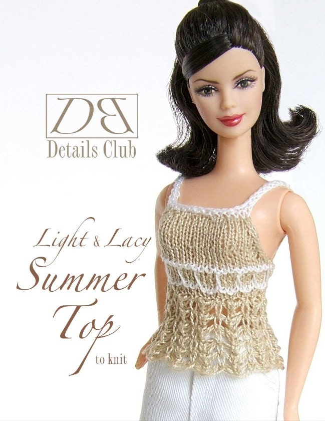Knitting Pattern For Lace Top : Knitting pattern for 11 1/2 doll Barbie: Lace Top