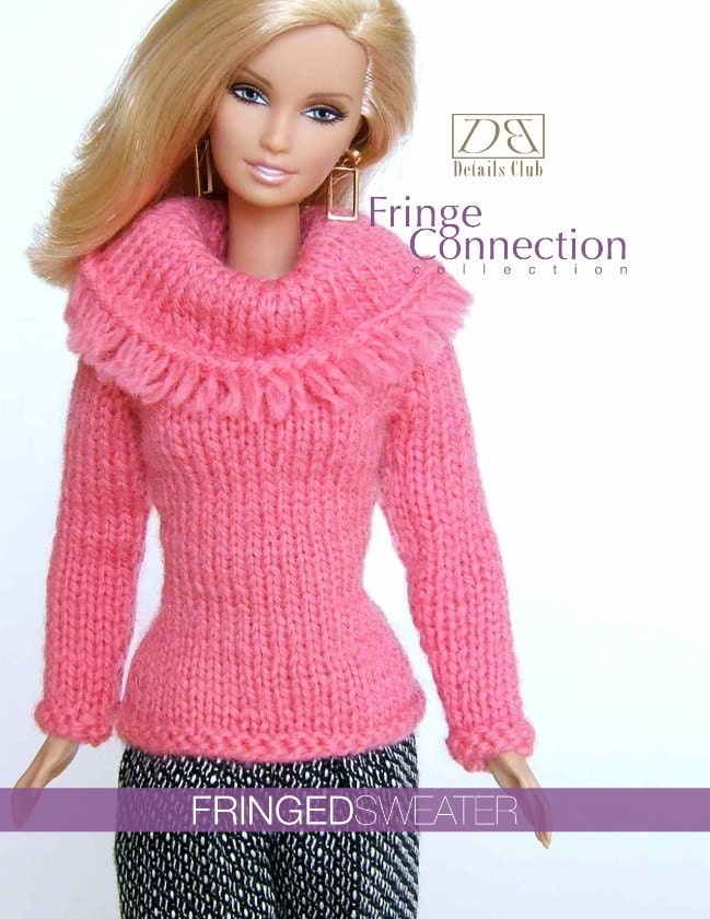 Chunky Infinity Scarf Knit Pattern : Knitting pattern for 11 1/2 doll Barbie: Fringed