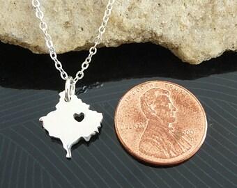 Tiny Sterling Silver Kosovo Necklace / Custom Heart / Small Kosovo Necklace / Love Kosovo  / Country Necklace / Kosovo Wedding