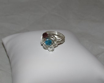 Swarvoski Crystal Wire Wrapped Ring/ Handmade/ Hand Crafted/ Boho