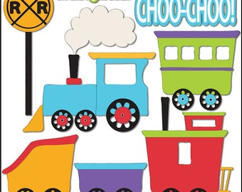 Train Things 1 - Digi Web Studio Clip Art Download by Trina Clark for Personal & Commercial Use