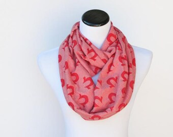 SALE 35% OFF Red infinity scarf ohm omega classic circle scarf - loop scarf snood jersey knit scarf - gift idea for her gift for mom