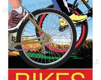 BIKES, 24 x 30 Graphic Art Biking Inspiration Print