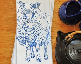 Blue Sheep Napkins - Eco Friendly - Screen Printed Cotton Animal Napkins - Reusable and Washable - Perfect Gift for Wedding Showers