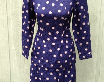 1980s 1990s Maggie London Peplum Dark Blue Silk Wiggle Dress with Shoulder Pads, Size 4 (About a modern S to M)