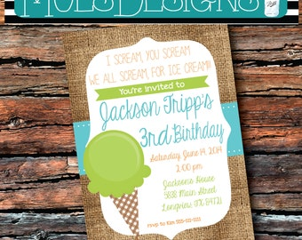 Any Color- ICE CREAM PARTY Baby Boys First Second Third Fourth Birthday Orange Green Teal Aqua Summer Snow Cone Party Swimming  Invitation