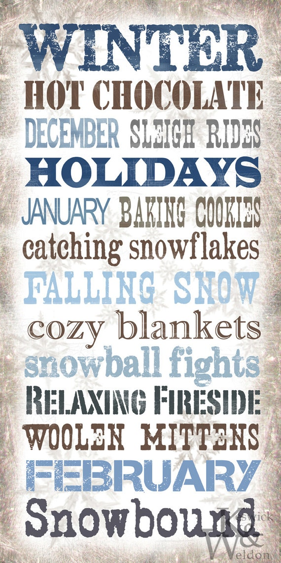 Winter sayings subway art typography print 10x20 photographic print