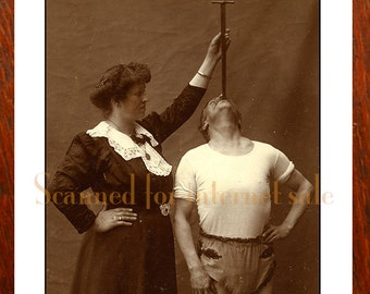 Vintage Circus Photo SWORD SWALLOWER 1890's Carnival, Sideshow Barnum & Bailey?