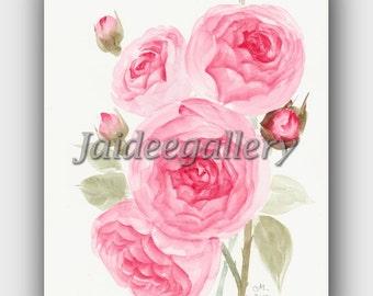 Original watercolor flower art, Floral rose painting, Flower art painting on paper 8x10 in.100% handmade