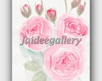 Floral painting,Original art Watercolor painting, Art painting of flower, Red rose painting on paper 8x10 in.