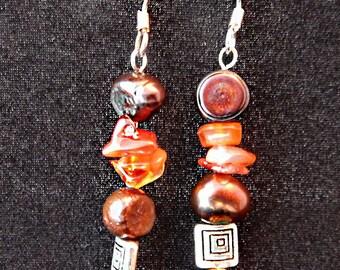 Jasper, freshwater pearls, and Swarovski crystal earrings
