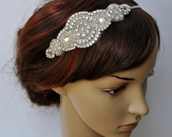 Bridal Headpiece, Bridal Headband, Wedding Headband Headpiece, Rhinestone Flapper Headband, 1920s headpiece , Prom Bridesmaid Headband