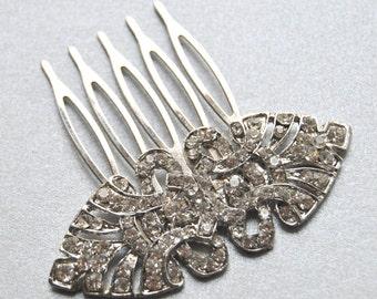 Silver Crystal Bridal Art Deco Hair Comb, Bridal wedding Hairpiece, Bridal Hair Accessory, Crystal Headpiece