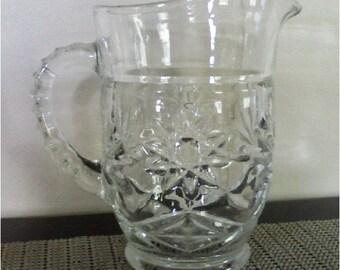 Vintage Glass Tea Pitcher Classic Star Design