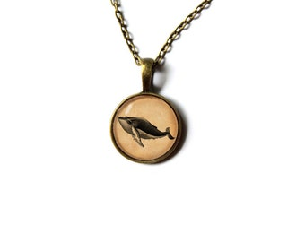 Whale necklace Nautical pendant Animal Art jewelry NW40