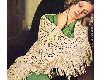 Crochet Patterns For Shawls Vintage : Crochet Shawl Pattern Vintage Lacy Motif Shawl Crochet ...