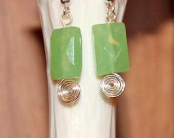 Seafoam Green Glass Small Spiral Earrings