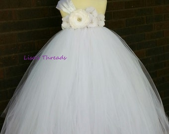 White Flower girl dress/ Junior bridesmaids dress/ Flower girl pixie tutu dress/ Rhinestone tulle dress