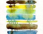 abstract watercolor painting print, indigo blue, yellow, aqua, brown