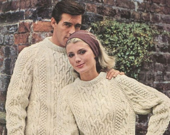 Mahoneys of Blarney 644 family aran style jumper  vintage knitting pattern PDF instant download
