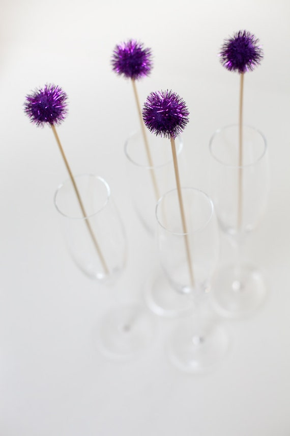 Purple Pom Pom Drink Stirrer, perfect Weddings, Wedding Showers ...
