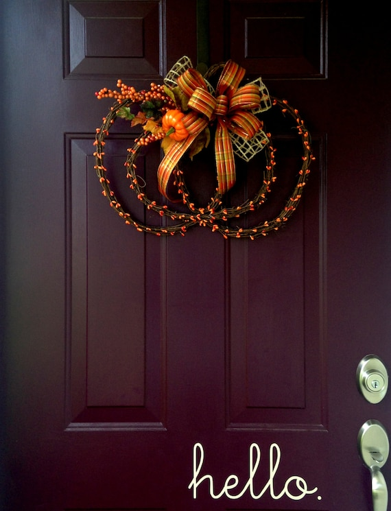 Pumpkin Shaped Grapevine Fall Wreath With Orange Berries