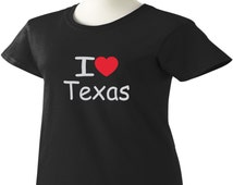I Love Texas T-Shirt Heart TX Womens Ladies