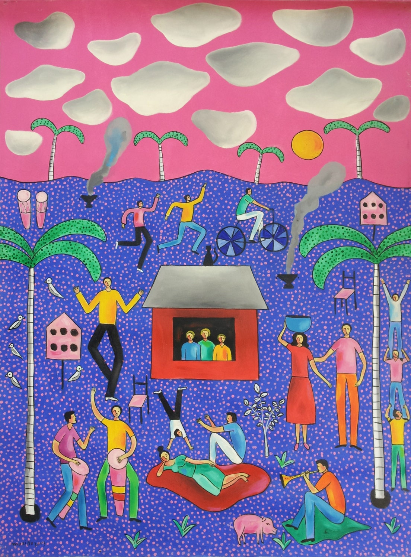 original peinture paysage folk na ve naif dominicain par usabodden. Black Bedroom Furniture Sets. Home Design Ideas