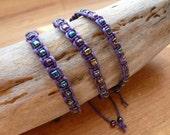 Purple or Black Macramé Bracelet with Petrol Coloured Beads / Knotty Knotty Macrame