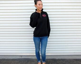 Monogrammed Pullover Sweatshirt - Half Zip Sweatshirt - Monogrammed Sweatshirt - Personalized Jacket - Monogrammed Quarter Zip Sweatshirt