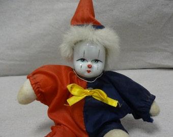 Porcelain Face Red & Blue Clown - E0028