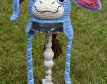 Eeyore Donkey Crochet Earflap Hat