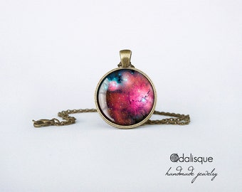 Magenta Nebula Pendant Nebula Necklace Pink Constellation Jewelry gifts for her for him glass cabochon outer space astronomy galaxy CB91