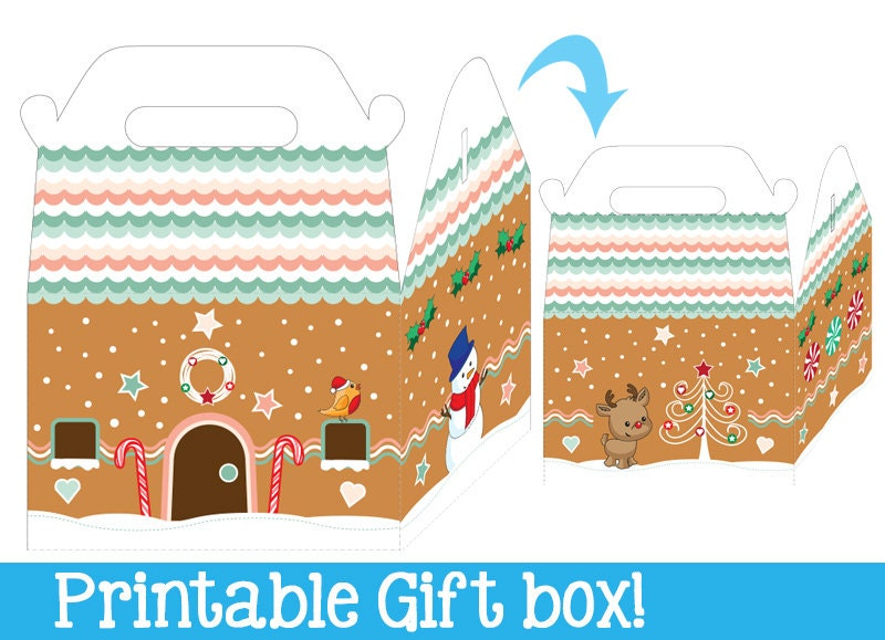 Gingerbread House Gift Box PRINTABLE Instant Download