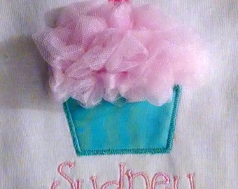 Tulle Cupcake Applique Onesie or Shirt for Girls