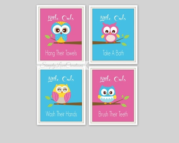 Owl Bathroom Prints Little Owls Wash Their By