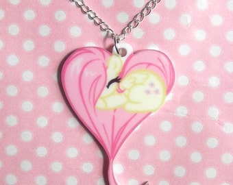 Fluttershy My Little Pony Friendship Is Magic sleeping heart necklace